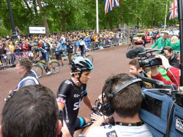 Geraint Thomas talks to the media in The Mall after yesterday's stage. Picture: Michael Pickard