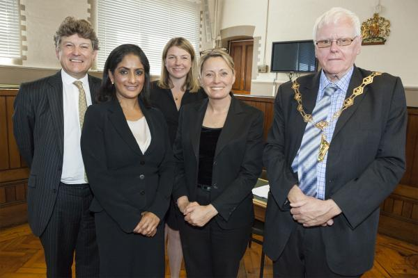 Assistant coroners Ian Wade QC, Laura Johnson and Elisabeth Bussey-Jones with Waltham Forest Mayor Councillor Terry Wheeler and Senior Coroner Nadia Persaud