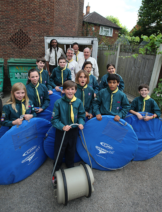 The scout group with the returned equipment