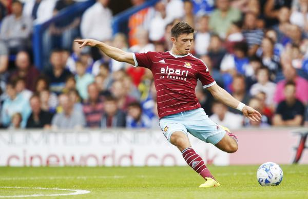 Former Tractor Boy Aaron Cresswell came closest for West Ham, hitting the bar. Picture: Action Images