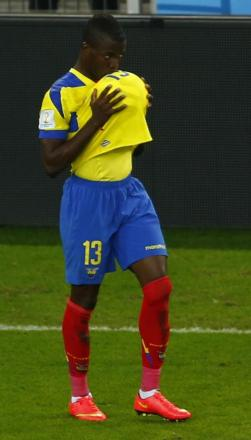Enner Valencia celebrates a goal for Ecuador at the World Cup. Picture: Action Images