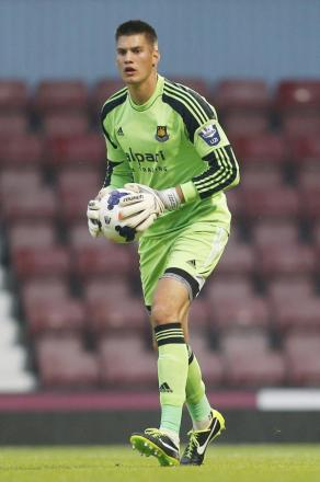 Raphael Spiegel in action for West Ham's Under-21 side. Picture: Action Images