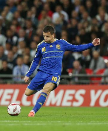 Yevhen Konoplyanka scores for Ukraine against England. Picture: Action Images