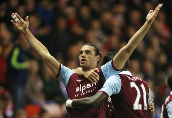 Andy Carroll celebrates scoring against Sunderland last season. Picture: Action Images