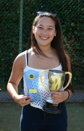 Caitlyn Hardy, 16, with the women's singles trophy.