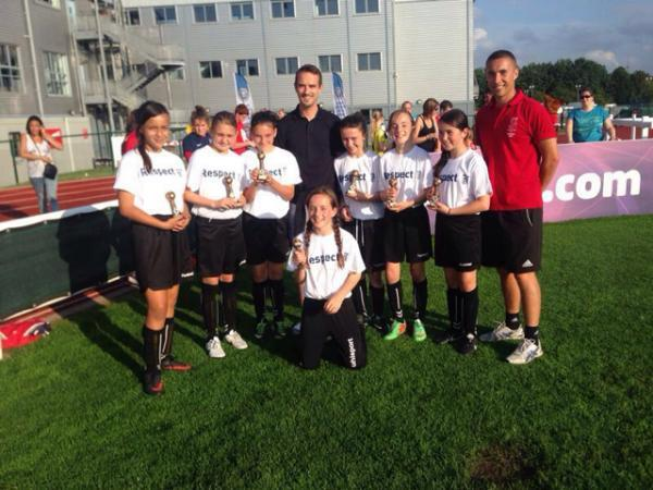 The winning LOASS side with England Ladies manager Mark Sampson (centre).