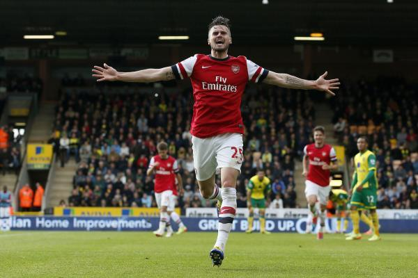 Carl Jenkinson celebrates scoring for Arsenal at Norwich last term. Picture: Action Images
