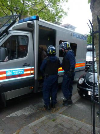 Territorial Support officers during a raid in Leytonstone in April