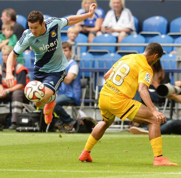Matt Jarvis in action against Malaga on Sunday. Picture: Action Images
