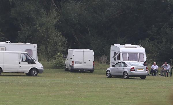 A group of travellers have moved on to a recreation ground after leaving a nearby site