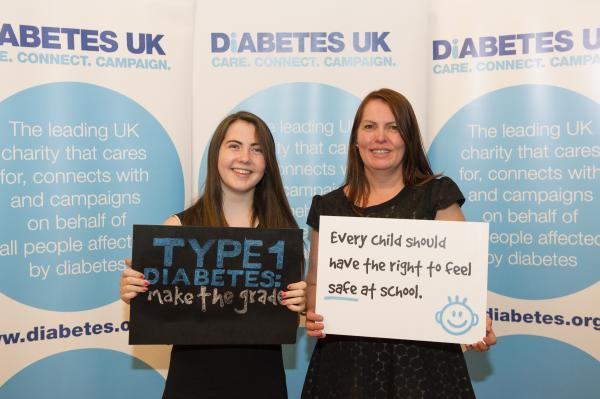 Fiona Faure and her daughter Kirsty, who has type 1 diabetes, at the Diabetes UK