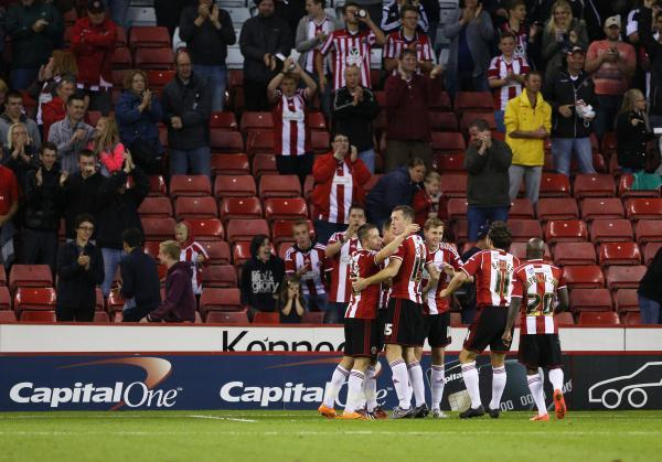 Sheffield United celebrate beating Mansfield Town in round one. Picture: Action Images