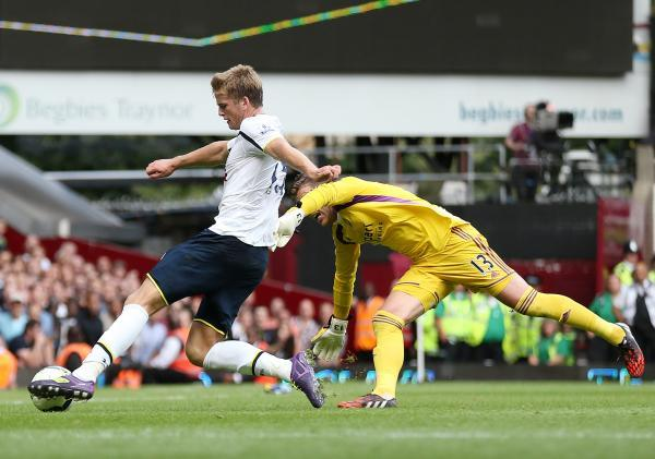 Eric Dier goes round Adrian to net Spurs' winning goal. Picture: Action Images