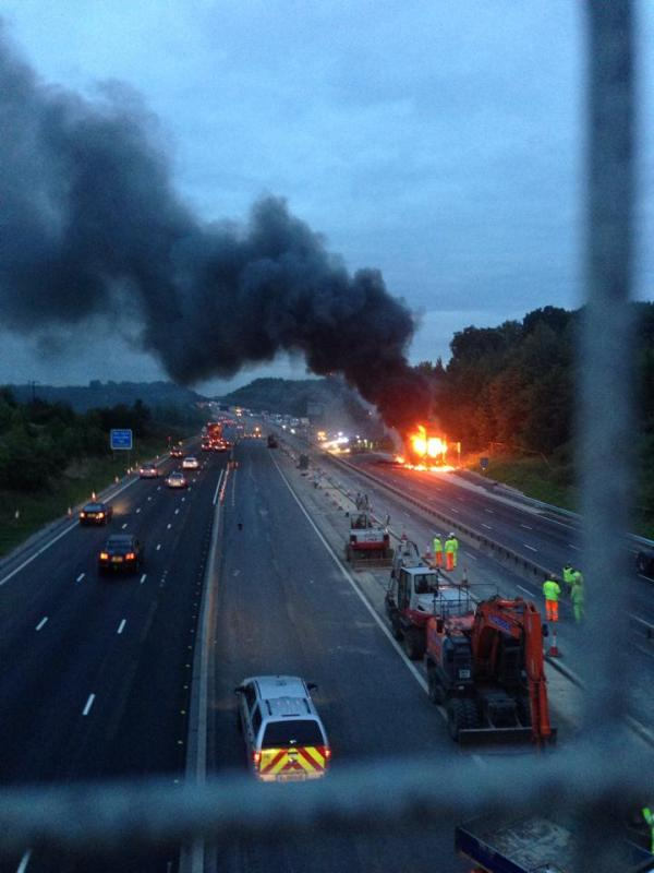 VIDEO: Dramatic footage of M25 lorry fire
