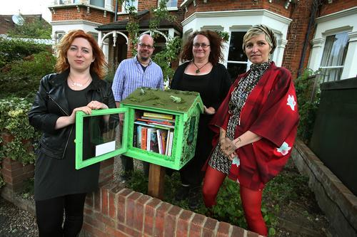 Leytonstone's first free library. Author Sara Bee, homeowners Felicity Hall and Robert Schroeder and artist Leticia Molera-Vasque
