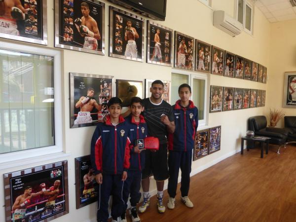 Ilyas, Ibrahim with Amir Khan and Ismail Hussain at Bolton gym
