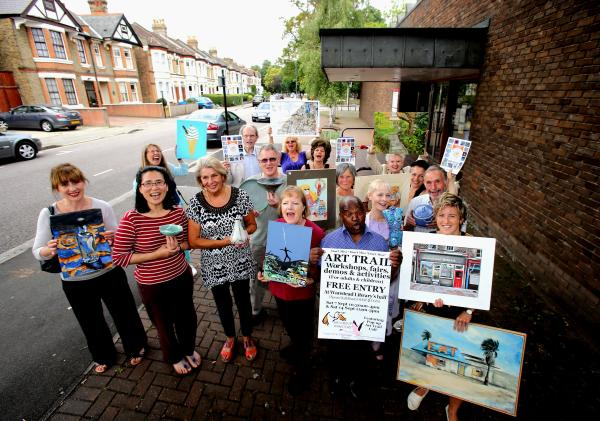 Artists gather outside Wanstead Library for the launch of last year's Art Trail