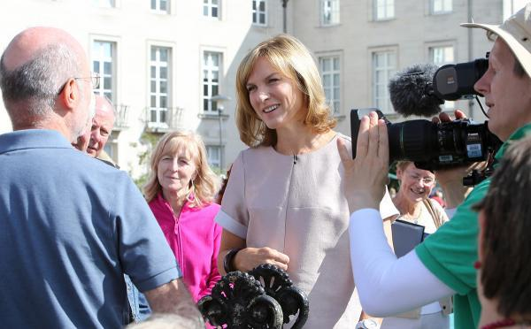 Presenter Fiona Bruce filming at Walthamstow today.