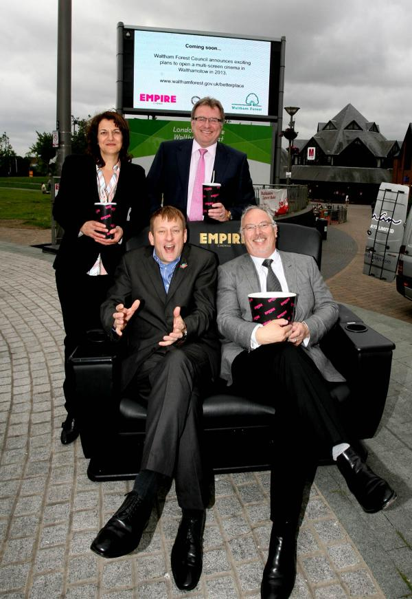 Shifa Mustafa (back left) with Andy Hill (back right), Cllr Clyde Loakes (front left) and Justin Ribbons, CEO of Empire Cinemas