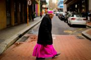 Desmond Tutu on his way to his favourite coffee shop for breakfast following his weekly Friday morning Holy Communion held at St George's Cathedral.