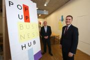 Deputy Redbridge council leader Cllr Wes Streeting and Mark Colleran (operations manager) at the pop-up business centre.