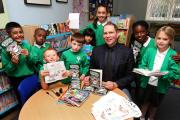Handsworth pupils have their books signed by children's author Dav Pilkey
