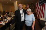 Guest speaker Janet Wallace and club President Roger Fallows during her visit to the Wanstead and Snaresbrook Rotary Club.