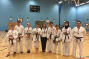 Karate team proudly display with their medals at Harlow Leisurezone.