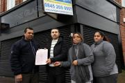 Shopkeeepers Shailesh Patel, Sarkaut Haval, Gita Bacheta and Roshni Patel with petition against an application to open an off-licence at the Glassworks (EL82366)