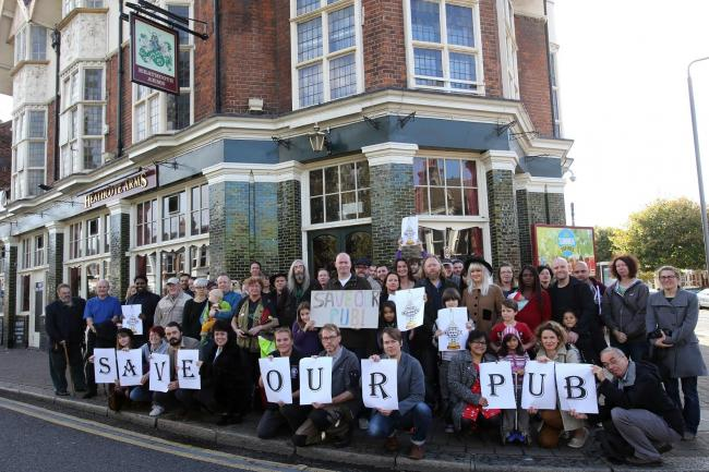 Campaigners outside the Heathcote Arms in Leytonstone.