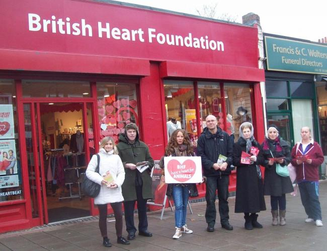 Protesters outside British Heart Foundation charity shop in High Street, Wanstead.