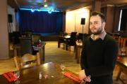 Tom Abernethy in the refurbished function room at Plough and Harrow pub in Leytonstone.