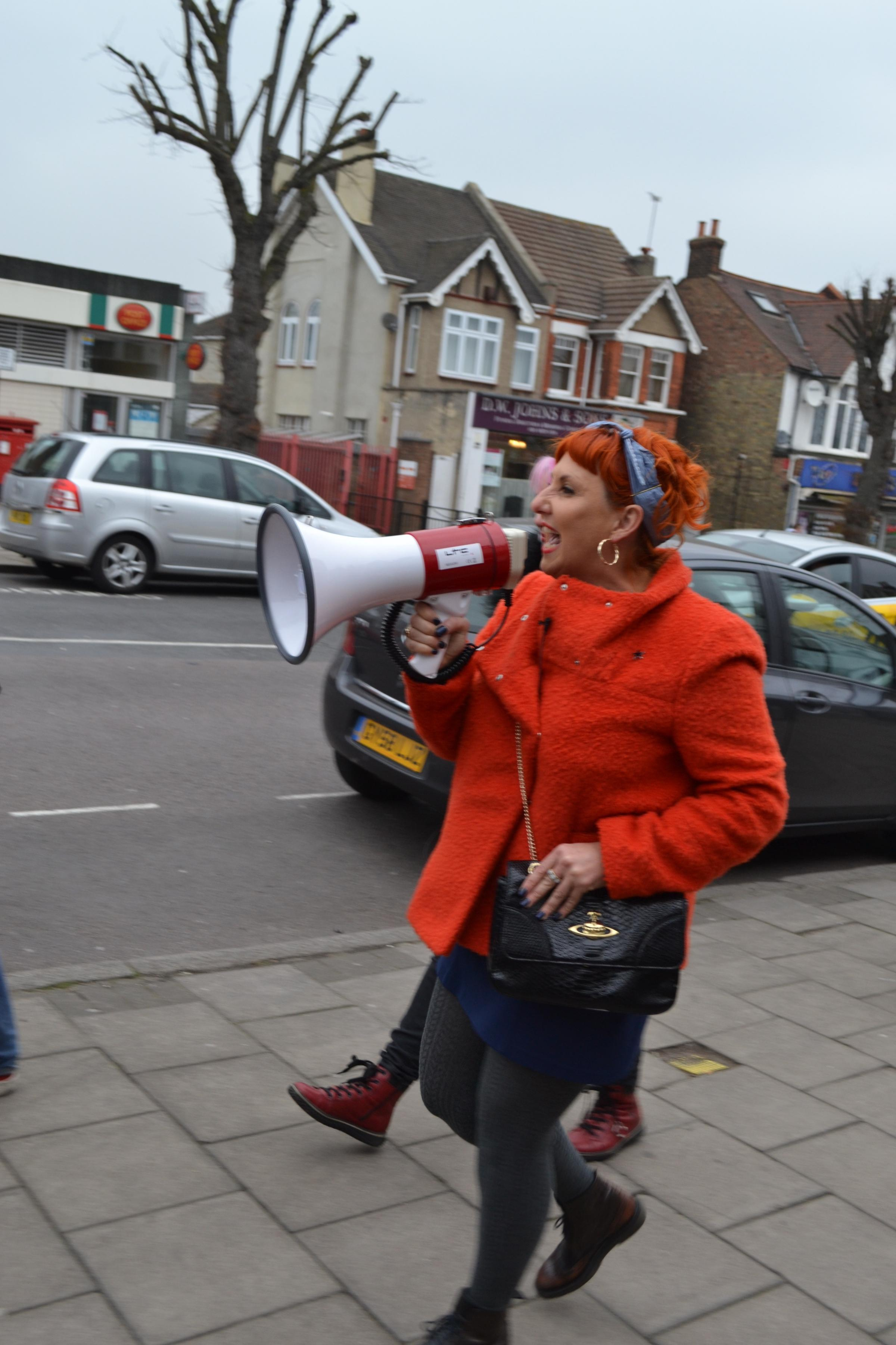 The LSE fellow marching through Station Road in Chingford last month