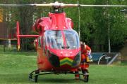 The air ambulance attended the stabbing on Saturday