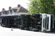 The lorry overturned on Redbridge Roundabout.