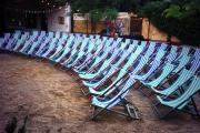 At the annual event 100 deckchairs are arranged for the audience in the pub garden
