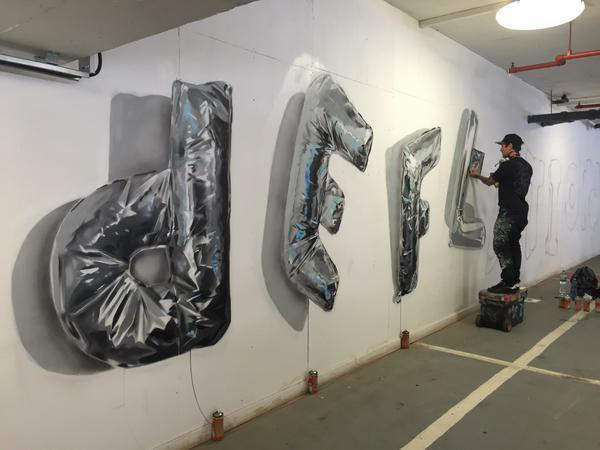 The piece is in the process of being completed in The Mall car park (@Wandster)