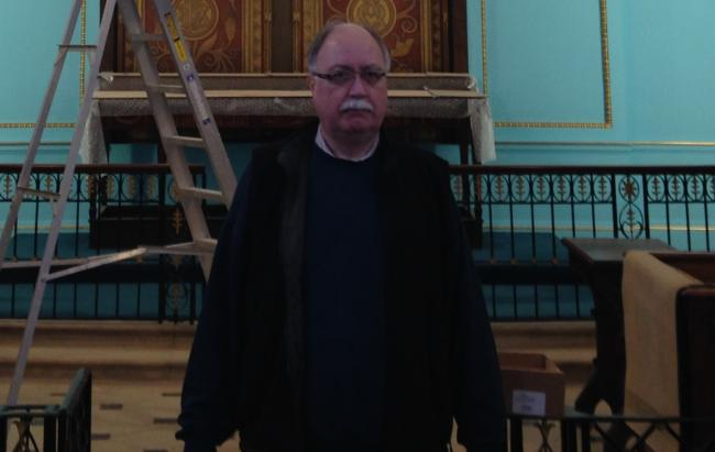 Peter Brown pictured in December during the refurbishment of St Mary's church.