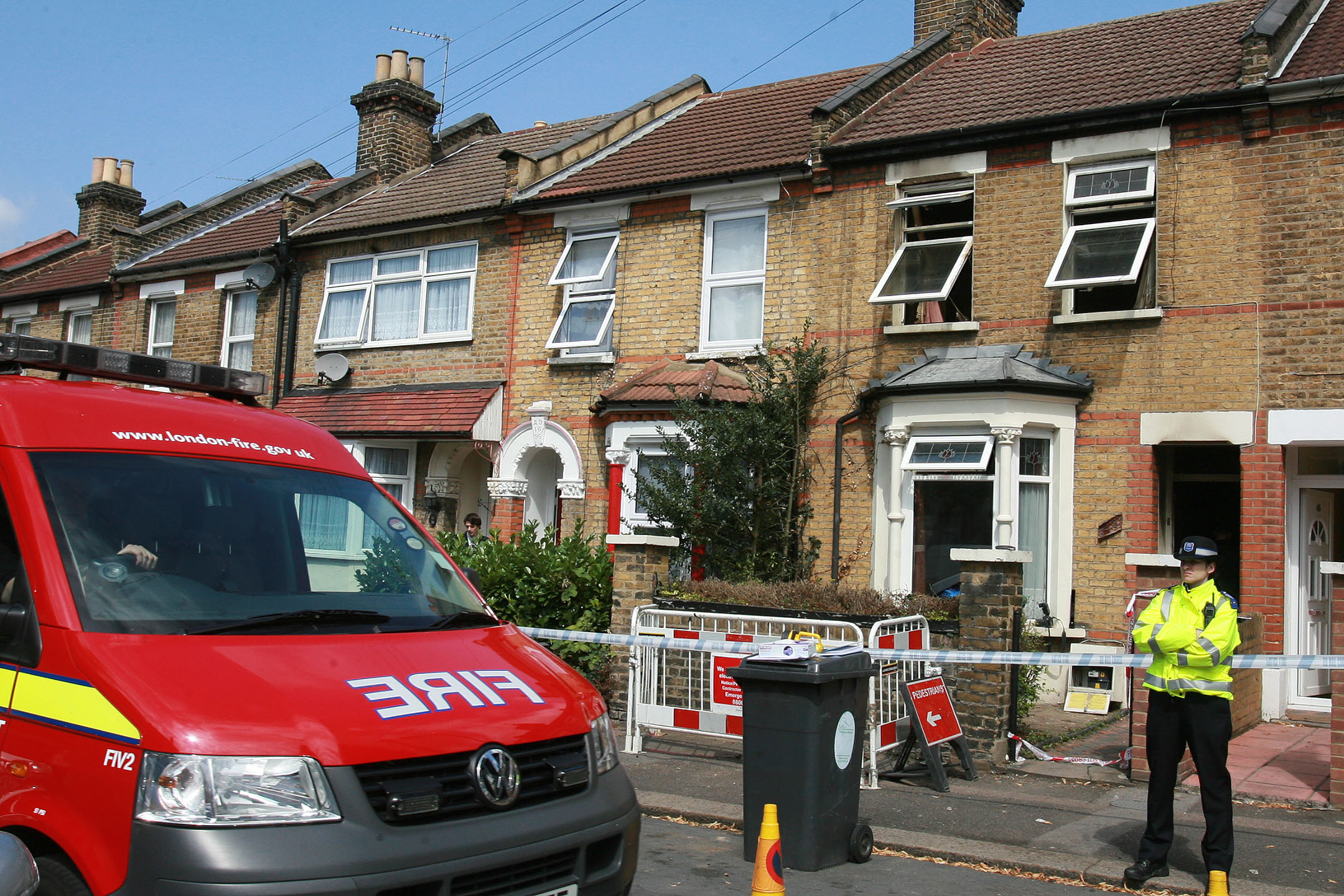 LFB and police at the fatal fire scene in Woodlands Road, Walthamstow on July 28 2011