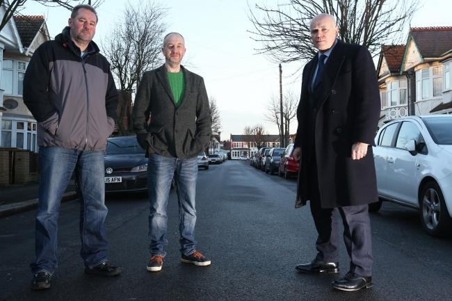 (L-R) Cllr John Moss, resident Rob Colley and Chingford MP Iain Duncan Smith in Tudor Road, Highams Park.