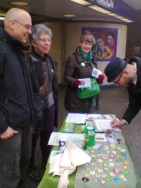 Green Party campaigners outside Leytonstone tube station on Saturday January 23.