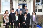 (Left to right) Tanya Kundu, Finn Hardwick, Mia Portman, Head Boy Callum Thomson, Jessica Ross, Charlie Willis, Jonathan Smith, Alex Coombs and Armand Feuilleaubois.