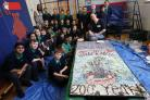 Children working on a mosaic to celebrate the bicentenary of Woodford Green Primary School, Sunset Avenue, Woodford Green.