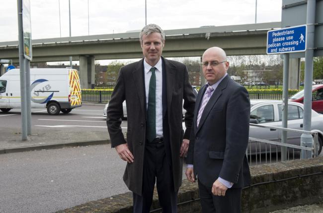London Mayor Conservative candidate Zac Goldsmith with Councillor Keith Prince at Redbridge Roundabout.