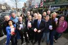 MP Iain Duncan Smith with parking campaigners in Station Road, Chingford.