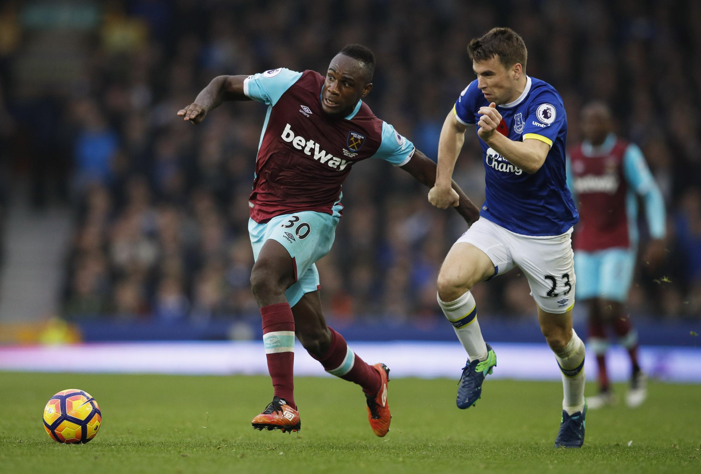 Michail Antonio competes for possession on Sunday. Picture: Action Images