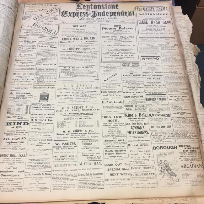 The Leytonstone Express and Independent, exactly 102 years ago today