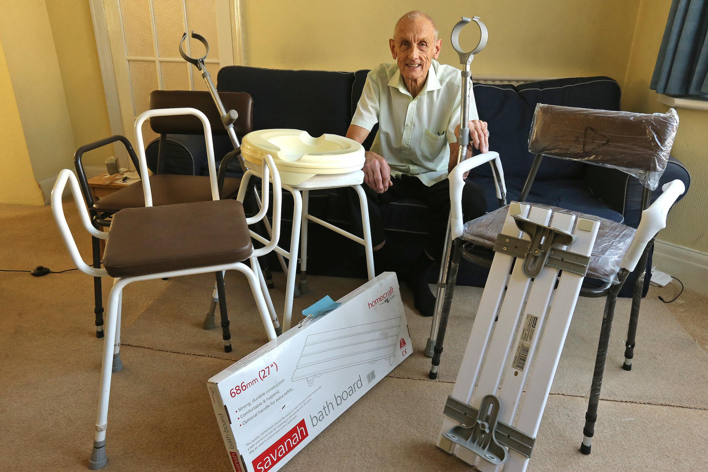 Frank Collins, 82, is finally getting rid of his unwanted mobility equipment that wife Rita, 80, stopped needing a year ago.