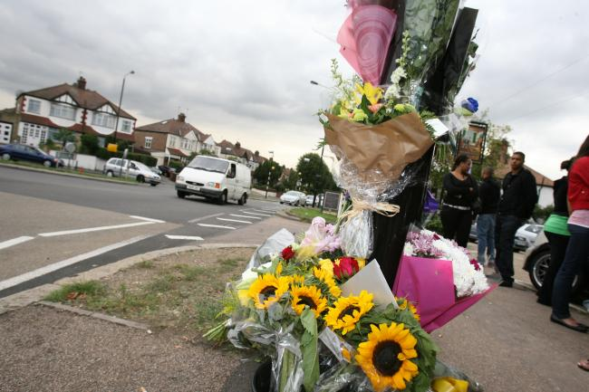 Floral tributes at the scene