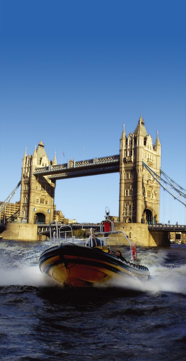 The RIB boat at full speed gives a thrilling tour of the Thames